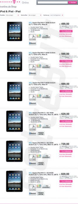 apple ipad to retail for eur 499 in germany rest of
