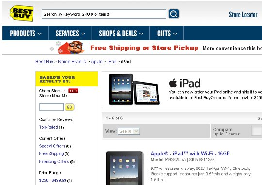 iPad WiFi & 3G Available on Best Buy Online Store