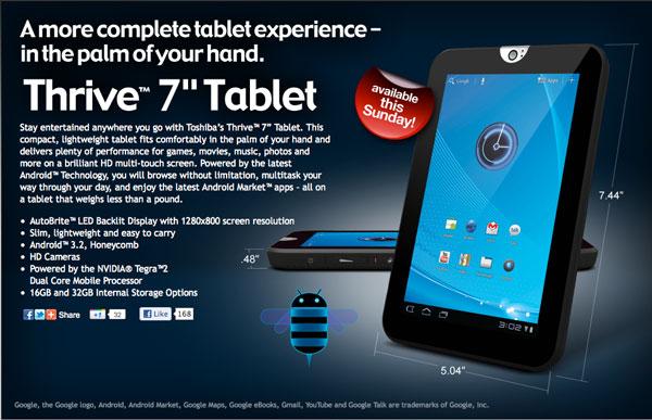 Tablet Toshiba 7 Inci Harga Sejutaan, Minat?