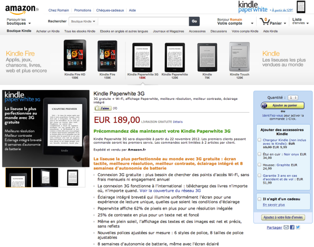 Amazon Kindle Paperwhite Up for Preorder in Europe: UK