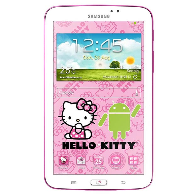 Samsung preparing galaxy tab 3 70 hello kitty edition video there will also be a logo on the back of the device and expect a ton of themes and wallpapers of hello kitty origin to be bundled here voltagebd Image collections