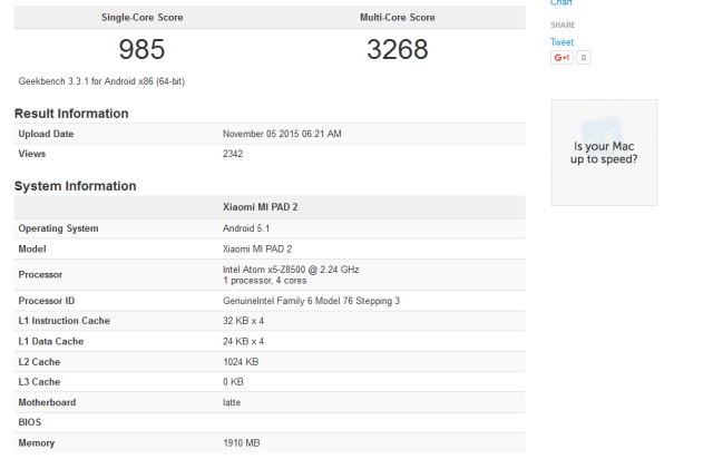 Xiaomi Mi Pad 2 Gets Listed in GeekBench; Comes with an ...