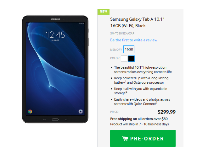 samsung galaxy tab a 10 1 tablet now up for preorder in us tablet news. Black Bedroom Furniture Sets. Home Design Ideas