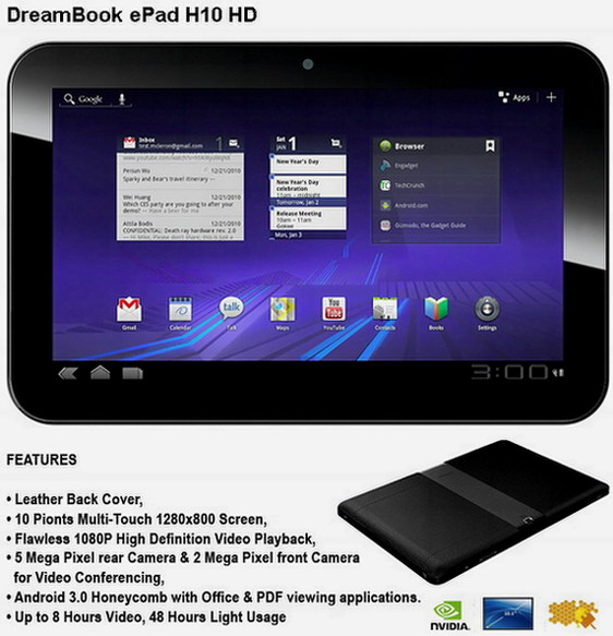 Pioneer Tablet DreamBook Runs Honeycomb, Uses Dual Core CPU - Tablet