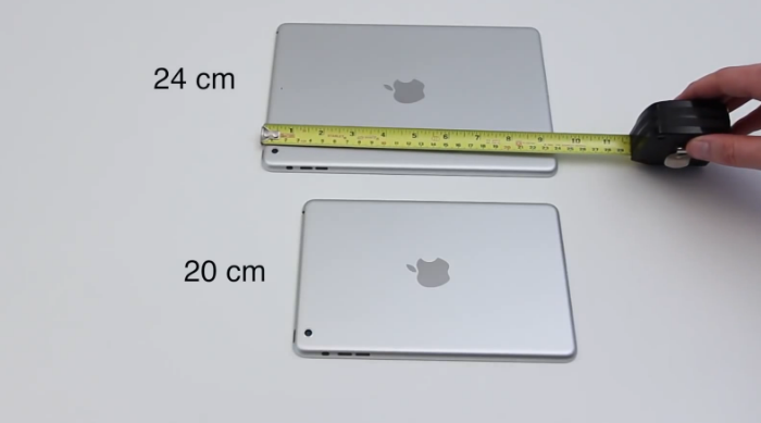 ipad mini 2 compared to ipad 5 and ipad mini 1 on camera