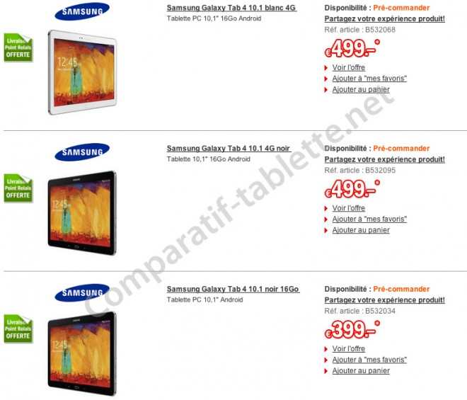 samsung galaxy tab 4 10 1 first prices leaked in france