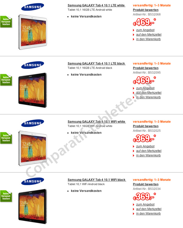 Samsung galaxy tab 4 10 1 first prices leaked in france for O tablet price list 2014