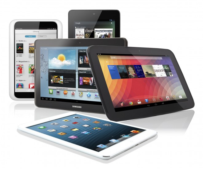 Group of tablets mostly standing iPad flat