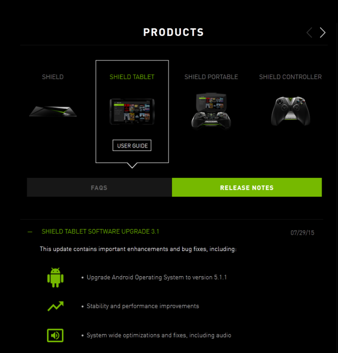 nvidia shield tablet update android 5.1.1