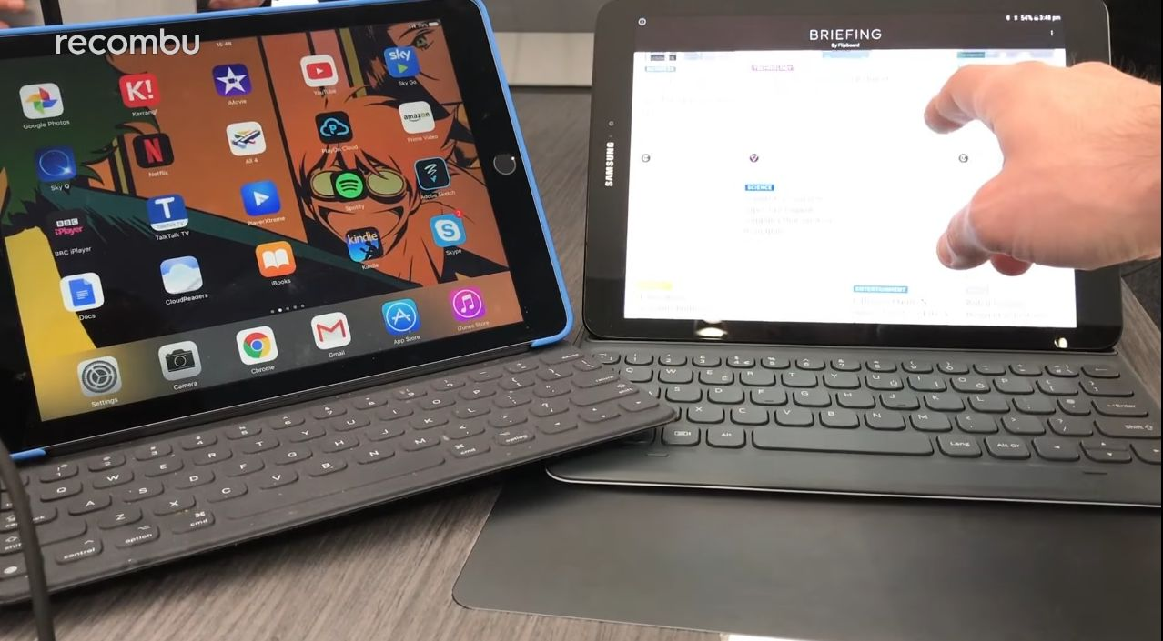 samsung galaxy tab s3 versus ipad pro in side by side comparison better keyboard on the ipad. Black Bedroom Furniture Sets. Home Design Ideas
