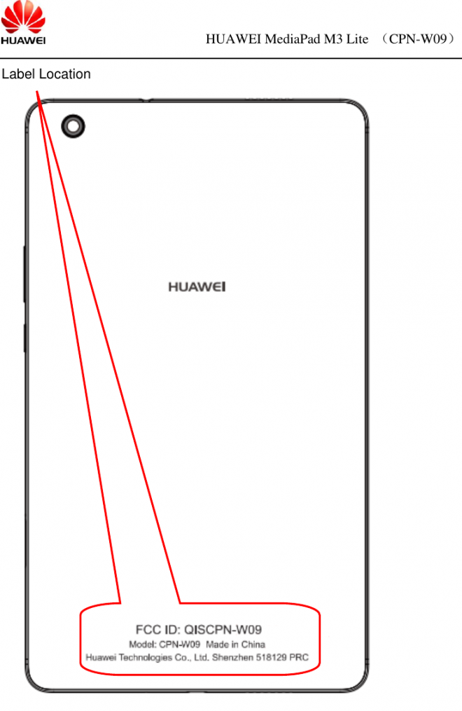 Huawei Mediapad M3 Lite 80 Cpn W09 Tablet Gets Certified By Fcc