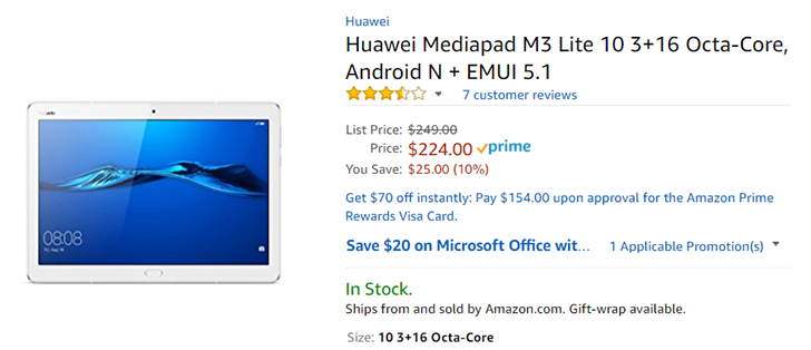Huawei MediaPad T3 and M3 Lite Android Tablets Get $15, up