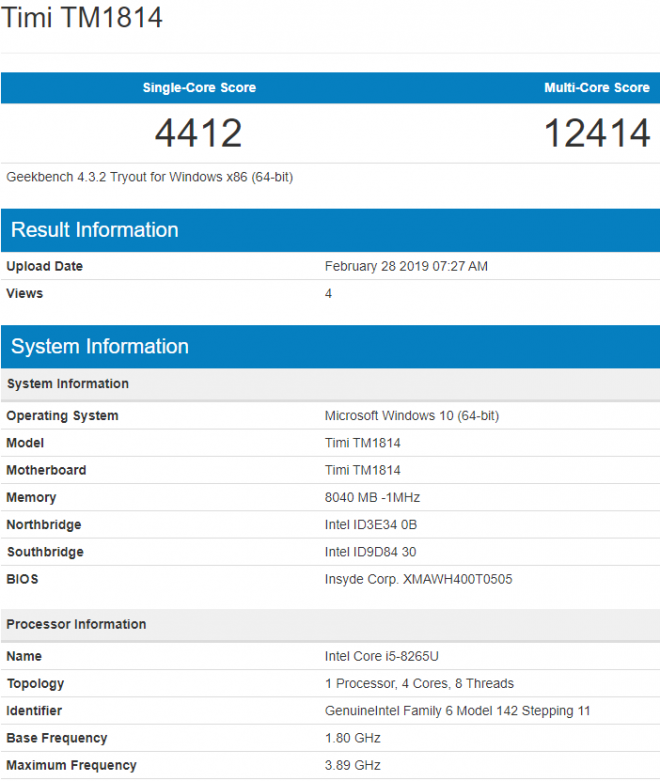 New Xiaomi Mi Notebook 2019 Leaked in GeekBench, With Intel Core i5